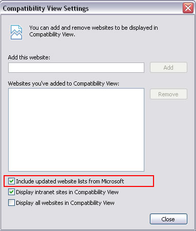 IE8 Compatibility View Settings Dialog