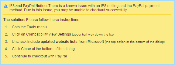 IE8 PayPal Warning Dialog